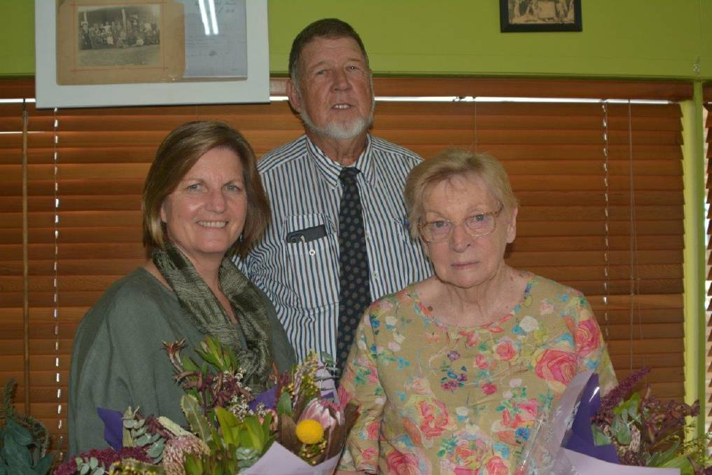 Showgirl and Rural Ambassador Judges Mary Sharp, Councilor Les Hotz and former Monto district show society president Pat Bowles.